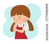little girl scratching her...   Shutterstock .eps vector #1774982849