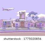 Passenger Plane Flies Over The...