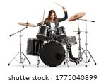 Young Female Drummer Playing...