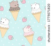 cute ice cream seamless pattern....   Shutterstock .eps vector #1775071820