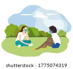 two women in a park at a safe... | Shutterstock .eps vector #1775074319