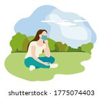 woman in medical mask sitting... | Shutterstock .eps vector #1775074403
