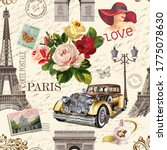 seamless paris vintage ... | Shutterstock . vector #1775078630