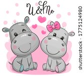 Two Cute Cartoon Hippos On A...