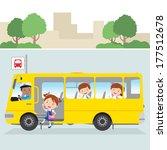 little girl board school bus | Shutterstock .eps vector #177512678