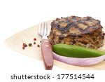 extra thick hot beef meat hamburger lunch on light wooden plate with tomatoes salad and cutlery isolated on white background - stock photo