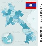 Blue Green Detailed Map Of Lao...