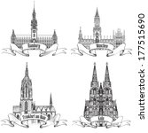 German city travel symbol set. Hamburg, Munich, Koln, Frankfurt am Main, Germany, Europe. Hand drawn sketch landmark icon collection.