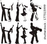 latin dance   silhouettes of... | Shutterstock .eps vector #177515999