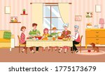 family reunion at festive meal... | Shutterstock .eps vector #1775173679