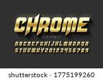 gold matt chrome style font ... | Shutterstock .eps vector #1775199260