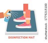 man standing on disinfection... | Shutterstock .eps vector #1775215100