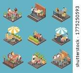 street cafe terrace isometric... | Shutterstock .eps vector #1775250593