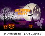 halloween night background with ... | Shutterstock .eps vector #1775260463