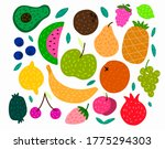 hand drawn colorful fruits set. ... | Shutterstock .eps vector #1775294303