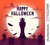 happy halloween border with a... | Shutterstock .eps vector #1775322989
