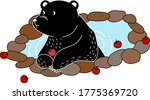 Cartoon Of Black Bear Is Laying ...