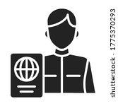 passport control black glyph...