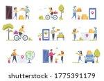delivery scenes bundle with...   Shutterstock .eps vector #1775391179