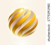 3d golden striped ball. color... | Shutterstock .eps vector #1775391980