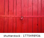 Red Painted Wooden Gate With A...