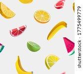 fruit seamless pattern.  sliced ... | Shutterstock .eps vector #1775499779