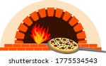 pizza oven and pizza vector... | Shutterstock .eps vector #1775534543