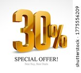 30  off special offer gold 3d... | Shutterstock .eps vector #1775556209