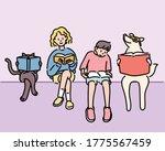 boy  girl  dog  cat friends are ... | Shutterstock .eps vector #1775567459