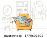 a woman is lying comfortably on ...   Shutterstock .eps vector #1775601806