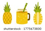 yellow pineapple and a glass... | Shutterstock .eps vector #1775673830