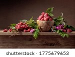 Fresh Juicy Raspberries In...