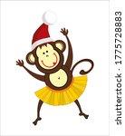 Funny Monkey In Santa Claus Hat