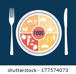 menu design over blue... | Shutterstock .eps vector #177574073