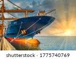 Cargo Freight Ship With Crane...
