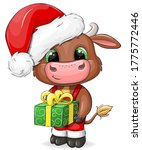 cute cartoon bull with gift in... | Shutterstock .eps vector #1775772446