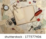 open diary book  old... | Shutterstock . vector #177577406