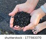 black sand in hands | Shutterstock . vector #177583370