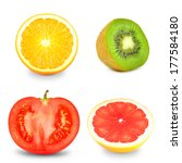 fruits and vegetables  | Shutterstock . vector #177584180