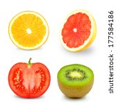 fruits and vegetables  | Shutterstock . vector #177584186