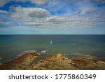Yacht Off The Coast  Whitby ...