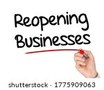 a hand writing 'reopening...   Shutterstock . vector #1775909063