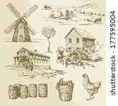 agriculture,architecture,background,barn,barrel,bowl,building,cabin,can,chicken,countryside,drawing,drawn,dutch,energy