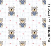 cute bear in jeans seamless... | Shutterstock .eps vector #1775990456