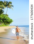 beach lifestyle man surfer with ... | Shutterstock . vector #177600434
