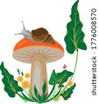 A Snail Sits On A Mushroom With ...