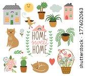 home sweet home  set of vector...   Shutterstock .eps vector #177602063