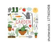gardening design elements | Shutterstock .eps vector #177602408