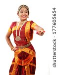 Small photo of Indian female performing Bharathanatyam doing the action of laughter or mirth or hasya