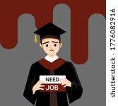 man wearing graduation gown... | Shutterstock .eps vector #1776082916